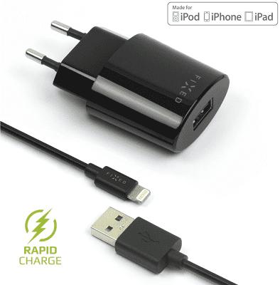 Fixed síťová nabíječka + dátový kabel Lightning 2,4 A, černá