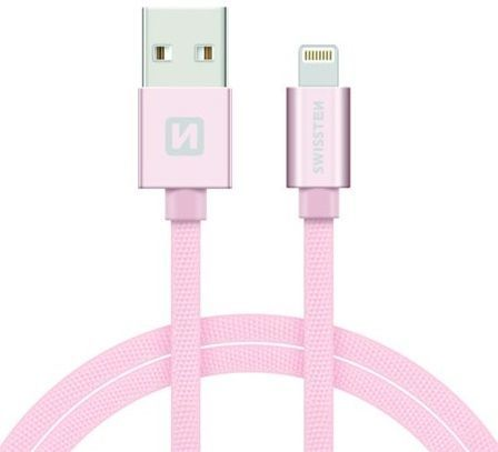 Swissten Lightning datový kabel 2m, růžovo-zlatá