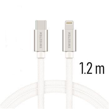 Swissten USB-C/Lightning datový kabel 1,2m, stříbrná