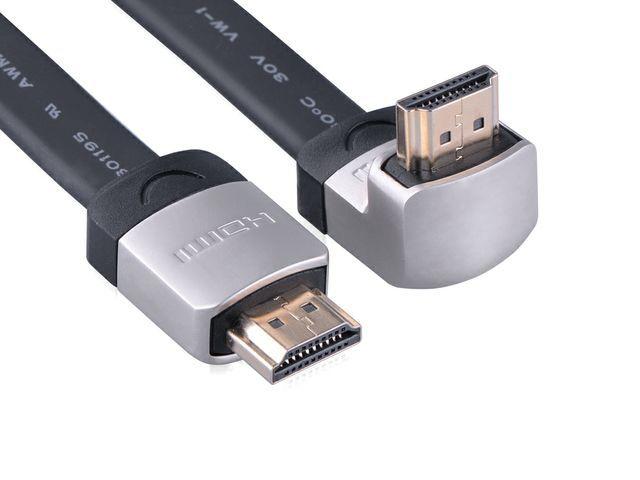 Ugreen 10279 - HDMI plochý přímý + zahnutý konektor (nahoru) 2M