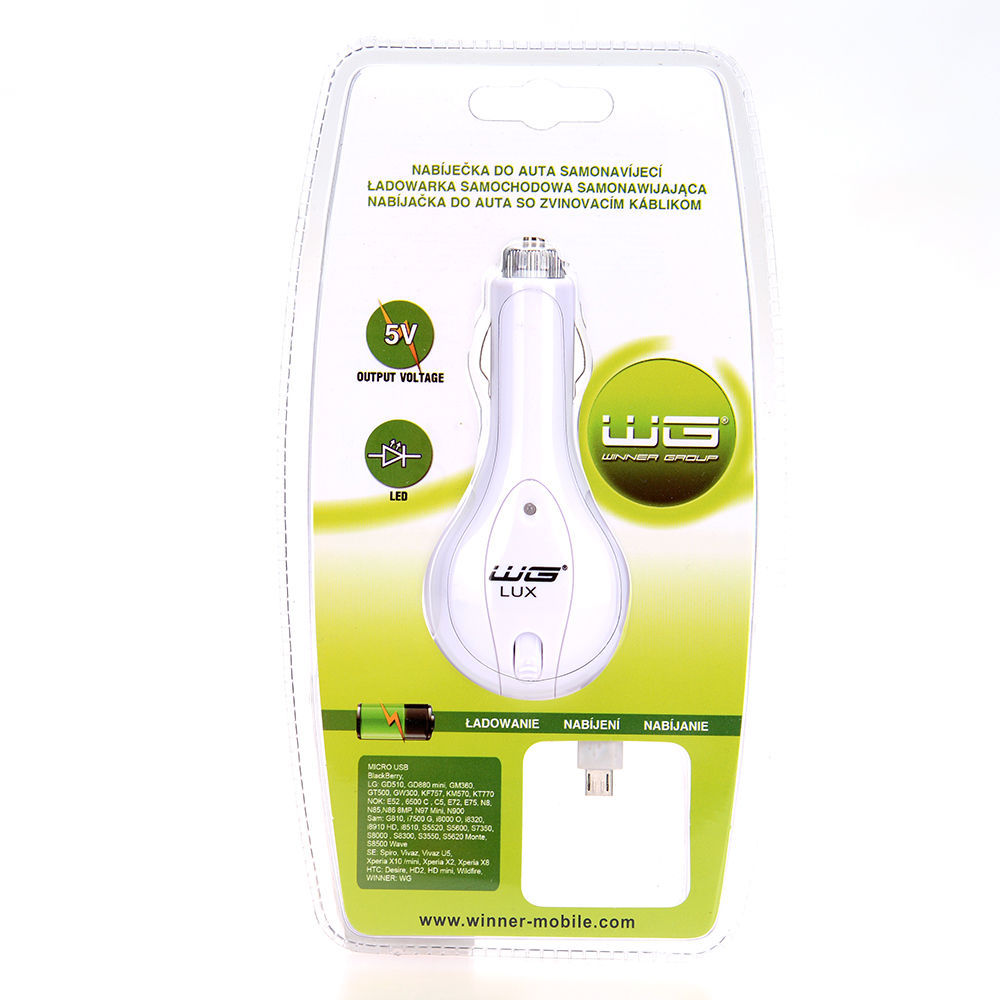 Winner autonabíječka samonavíjecí micro USB (bílá)