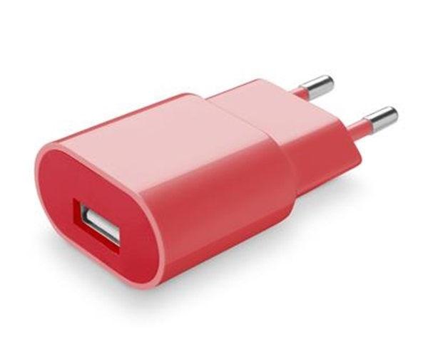 CellularLine Style&Color síťová USB nabíječka, 1A (růžová)