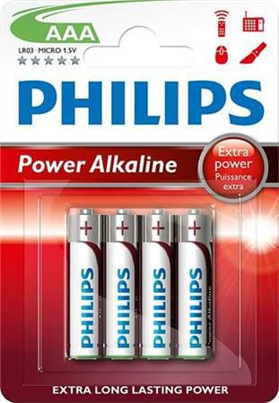 Philips Power Alkaline LR03P4B AAA, 4ks