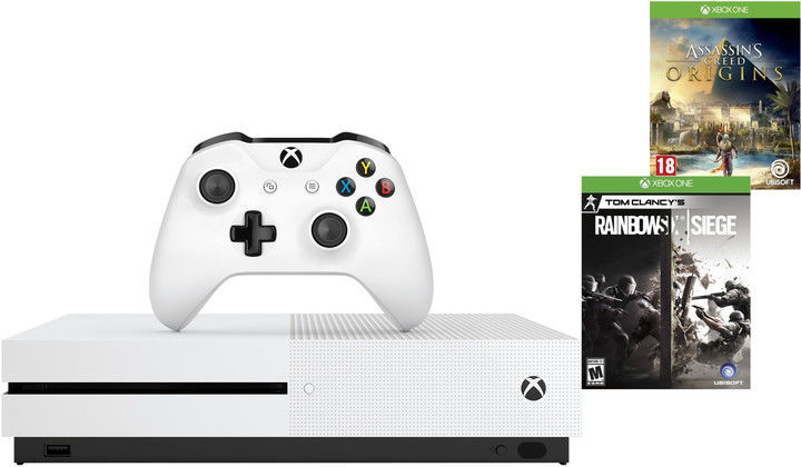 Microsoft Xbox One S 1 TB bílý + Assassin's creed: Origins a Tom Clancys Rainbow 6: Siege