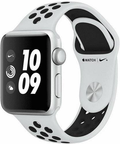 Apple Watch Series 3 Nike+ 38mm, stříbrný hliník a platinový/černý sportovní řemínek Nike