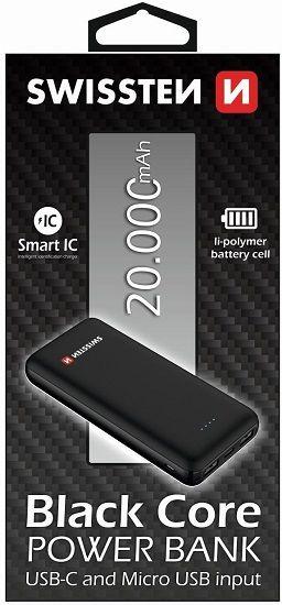 Swissten Black Core powerbanka 20000 mAh, černá