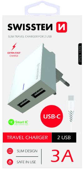Swissten 2xUSB nabíječka SMART IC 3,1A, bílá + kabel USB-C 1,2m