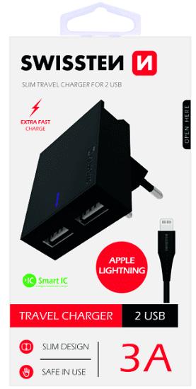 Swissten 2xUSB nabíječka SMART IC 3,1A, černá + kabel Lightning 1,2m