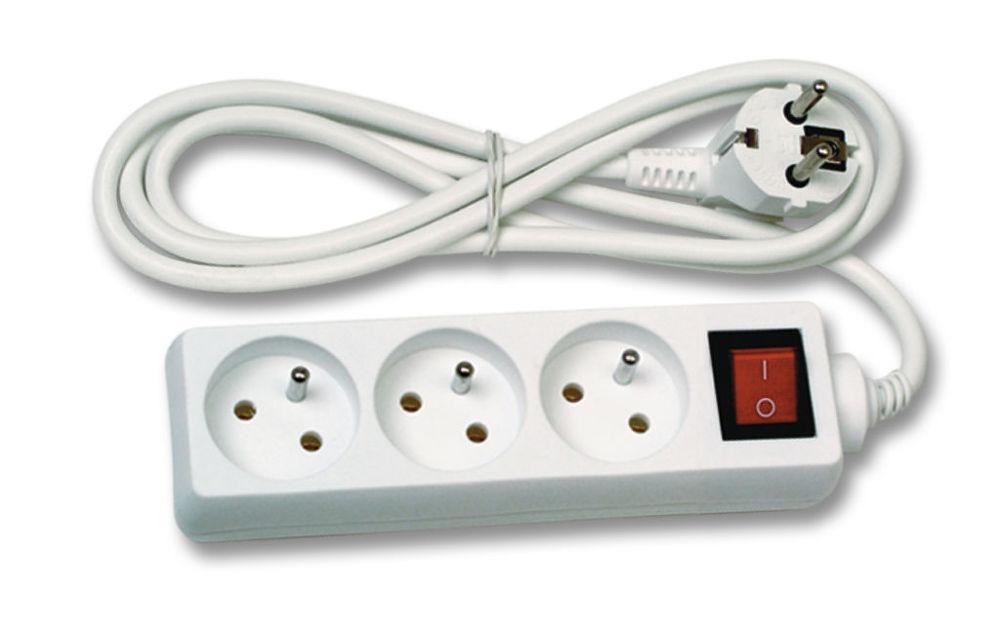 Ecolite FK3-3 - prodlužovací kabel, 3 zásuvky, vypínač, 3m
