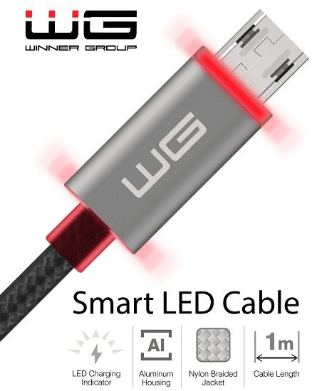 Winner LED Light datový kabel USB-C 1m, černá