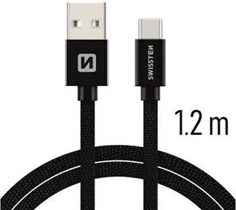 Swissten USB/USB-C kabel 1,2 m, černá