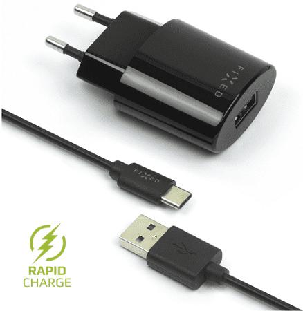 Fixed síťová nabíječka + dátový kabel USB-C 2,4 A, černá