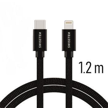 Swissten USB-C/Lightning datový kabel 1,2m, černá