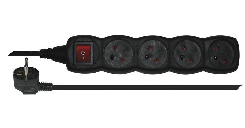 Emos PC1413 - Prodlužovací kabel s vypínačem, 4 zásuvky, 3m (černý)