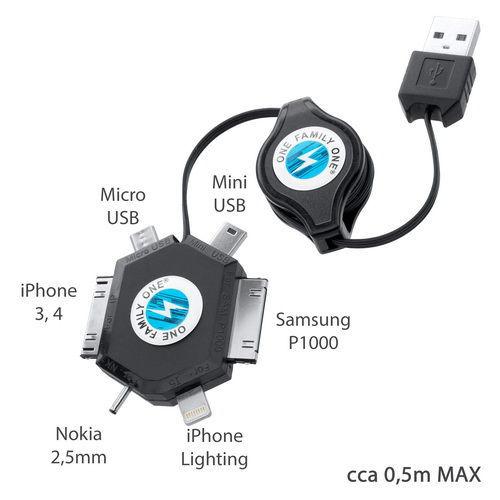 MobilNet USB 6v1 vytahovací nabíjecí kabel (černý)