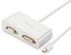 UGREEN 10438 3-v-1 Mini Displayport na HDMI/VGA/DVI konvertor - bílý
