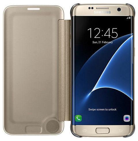 Samsung EF-ZG935CF Flip ClearView Galaxy S7e (zlatý)