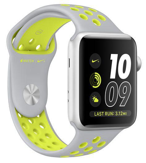 Apple Watch Nike+ 42mm (stříbrný hliník s matně stříbrným / Nike Volt sportovním řemínkem)