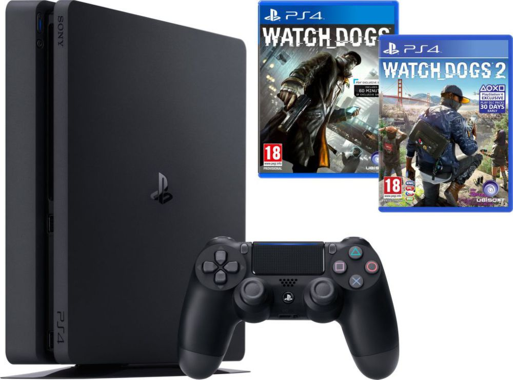 Sony PlayStation 4 1TB + Watchdogs 1+2 (černý)