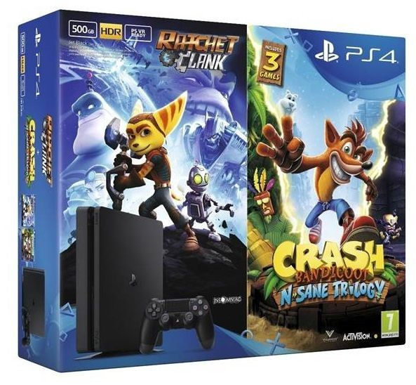 Sony PlayStation 4 Slim 500GB + Crash Bandicoot N Sane Trilogy + Ratchet & Clank černá