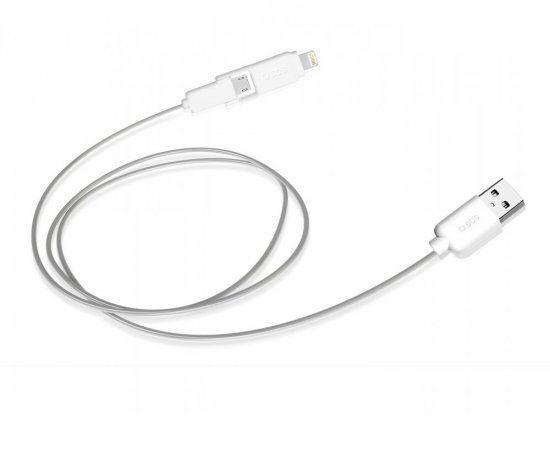 SBS kabel USB-C - microUSB 1m, bílý