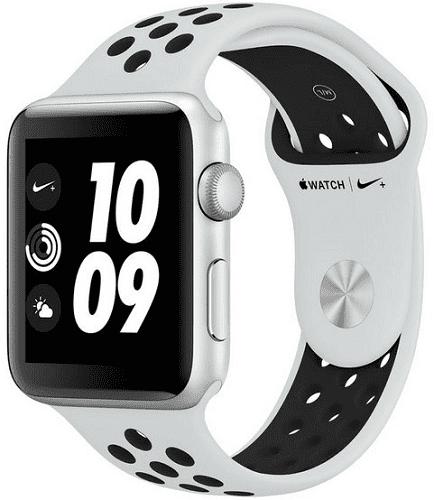 Apple Watch Series 3 Nike+ 42mm, stříbrný hliník a platinový/černý sportovní řemínek Nike