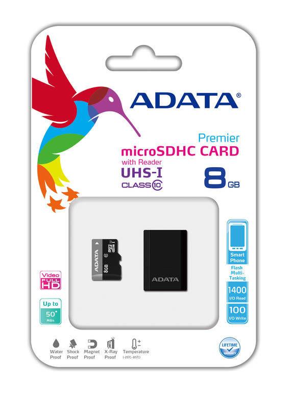 ADATA Premier microSDHC 8GB UHS-I Class10 + USB adaptér