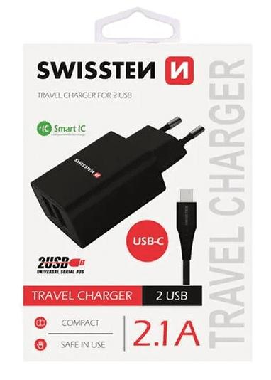 Swissten 2xUSB 2,1 A síťová nabíječka, černá + USB-C kabel 1,2 m