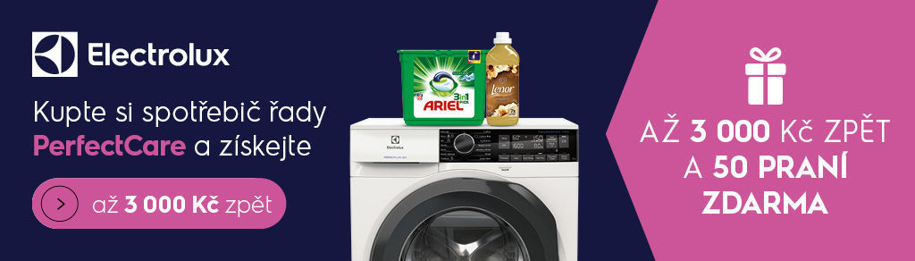 Cashback až 3 000 Kč nebo 50 praní k pračkám a sušičkám Electrolux