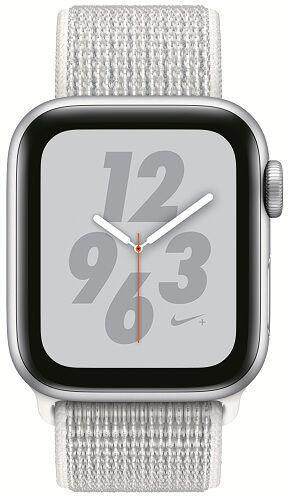 Apple Watch Series 4 Nike+ 40mm stříbrný hliník/sněhově bílý provlékací sportovní řemínek Nike