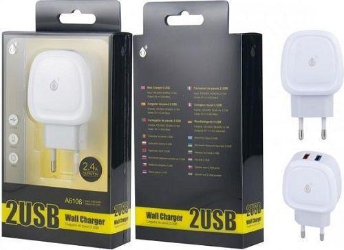 Aligator Plus 2x USB nabíječka A6106, bílá