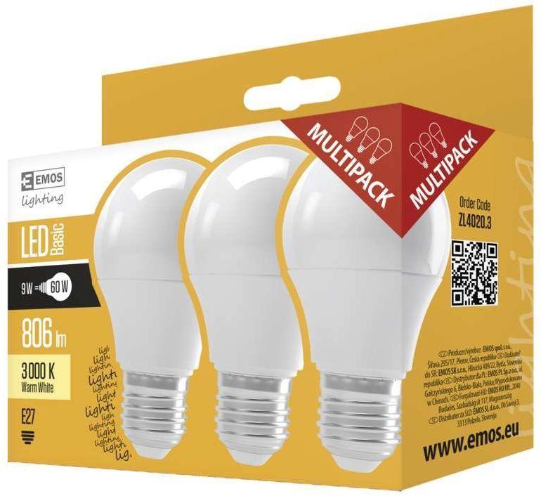 EMOS LED 9W E27 WW 3KS, žárovka teplá bílá