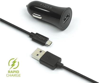 Fixed autonabíječka + dátový kabel micro USB 2,4 A, černá