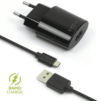 Fixed síťová nabíječka + dátový kabel micro USB 2,4 A, černá