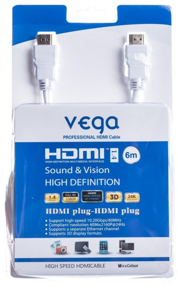 Vega AA-1067 HDMI kabel 6m (bílý)