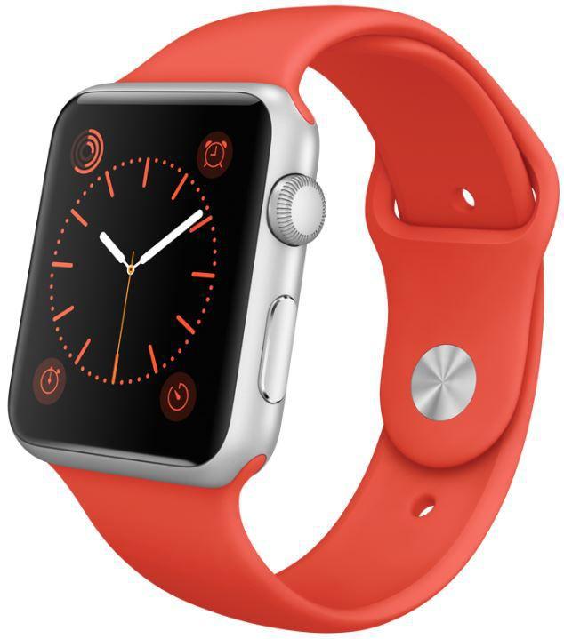Apple Watch Sport 42mm MLC42HC/A (stříbrný hliník s oranžovým řemínkem)