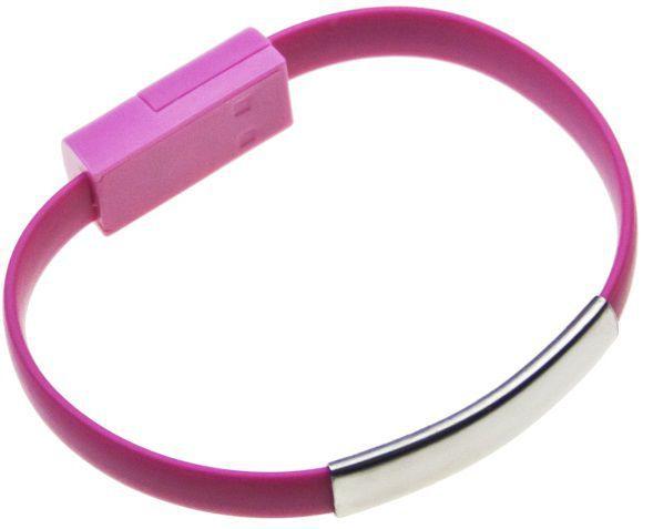 Aligator Bracelet microUSB nabíjecí kabel (růžový)