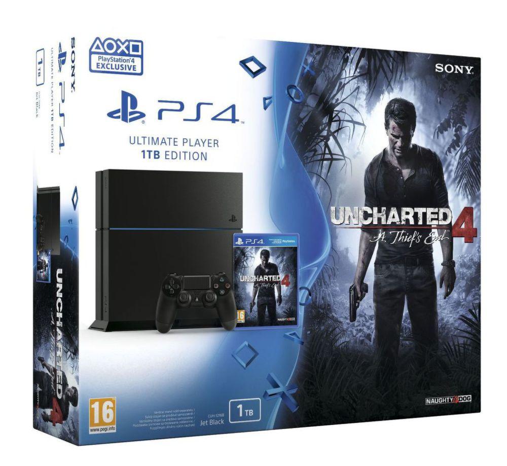 Sony PlayStation 4 1TB Uncharted 4: A Thief's End, PS719802655 + dárek PS4 Dualshock Controller (černý) zdarma