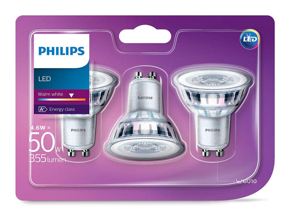 PHILIPS 50W GU10 teplá bílá 36D 230V LED