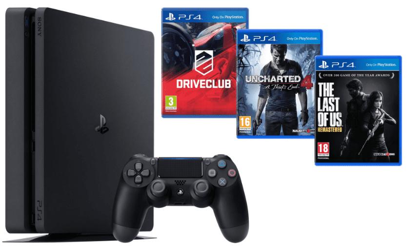 Sony PlayStation 4 1TB+DriveClub+Uncharted 4: Thiefs End+The Last of Us (černá) + dárek Sony PlayStation Plus Card 90 dní - předplatné pro PS3 a PS4 zdarma