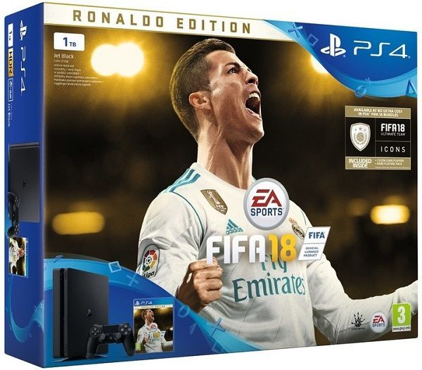 Sony PlayStation 4 Slim 1TB černý + FIFA18 Ronaldo Edition + PS Plus 14 dní
