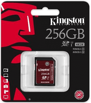 Kingston SDXC 256GB 90MB/s Class 10 UHS-I U3
