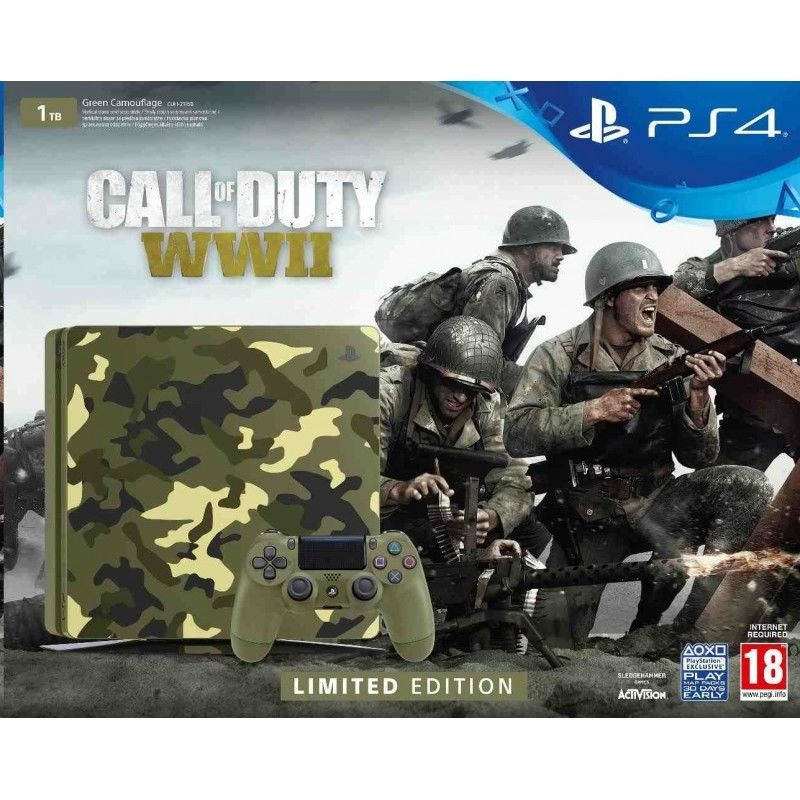 Sony PlayStation 4 Slim maskáčová + Call of Duty WWII a That's You!