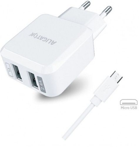 Aligator 2x USB nabíječka 2,4A Turbo charge, bílá + datový kabel Micro USB