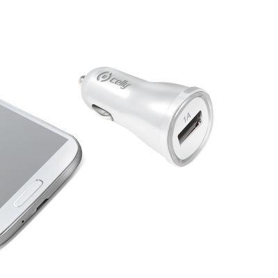 Celly Autonabíječka s USB výstupem - 1A (bílá)