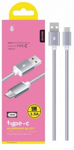 Aligator Plus AU406 USB-C kabel 1m, stříbrná
