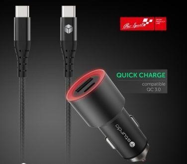 Sturdo autonabíječka USB/USB-C + kabel, černá