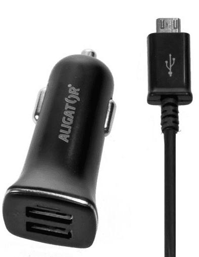 Aligator autonabíječka 2xUSB 2,4A, černá + microUSB kabel