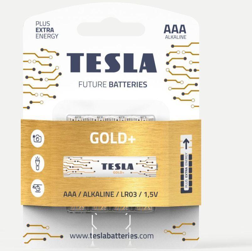TESLA GOLD+ AAA 4ks, alkalická baterie
