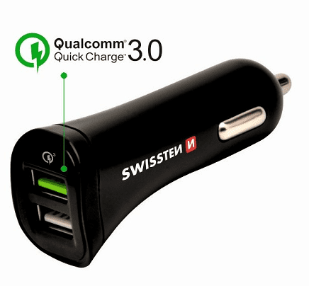 Swissten 2xUSB-A QC 3.0 18 W autonabíječka, černá + microUSB kabel 1,5m